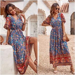 Boho Gypsy Blue v neck Floral Maxi Dress